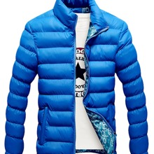 Jacke mit Stehkragen und schraegen Taschen