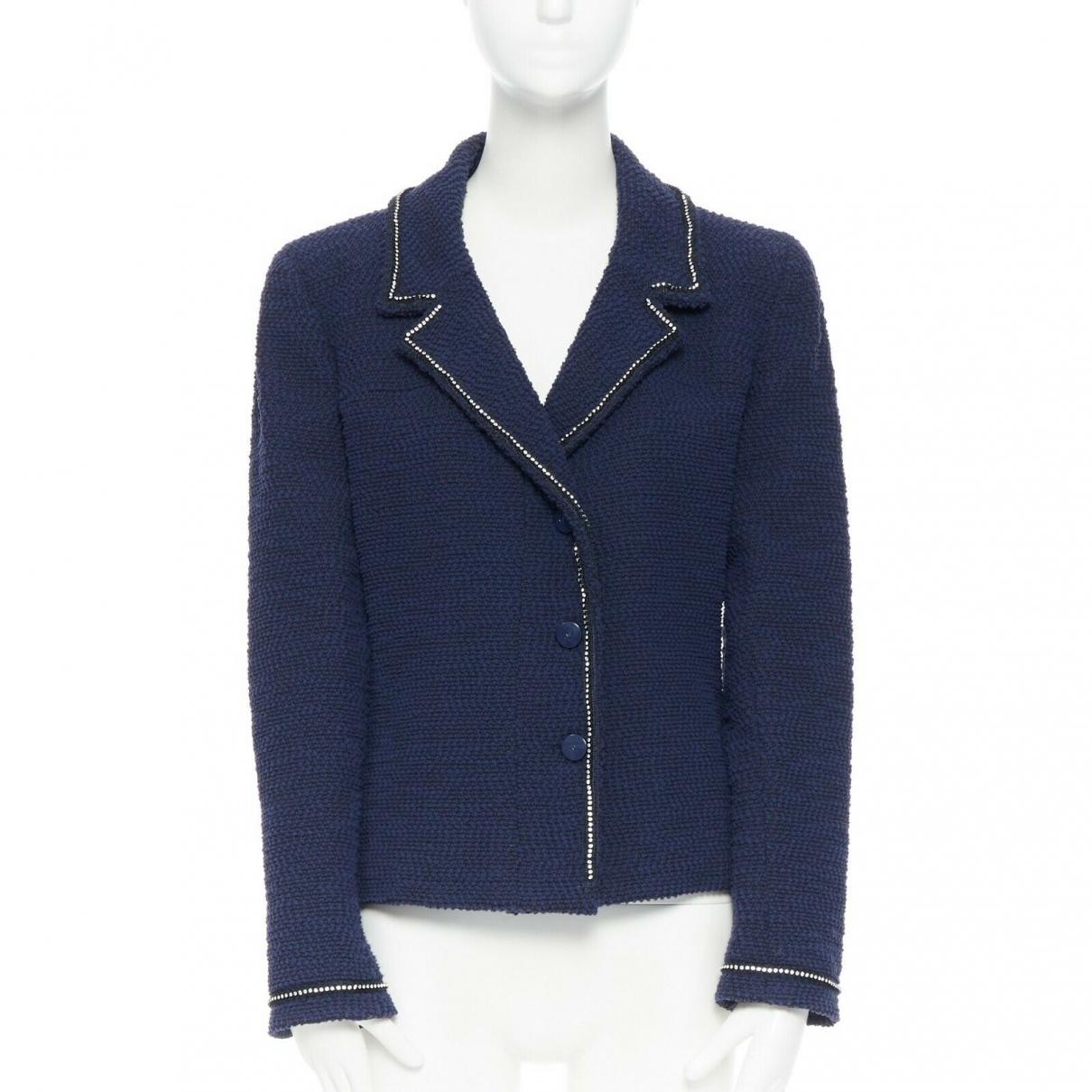 Chanel \N Jacke in  Blau Seide