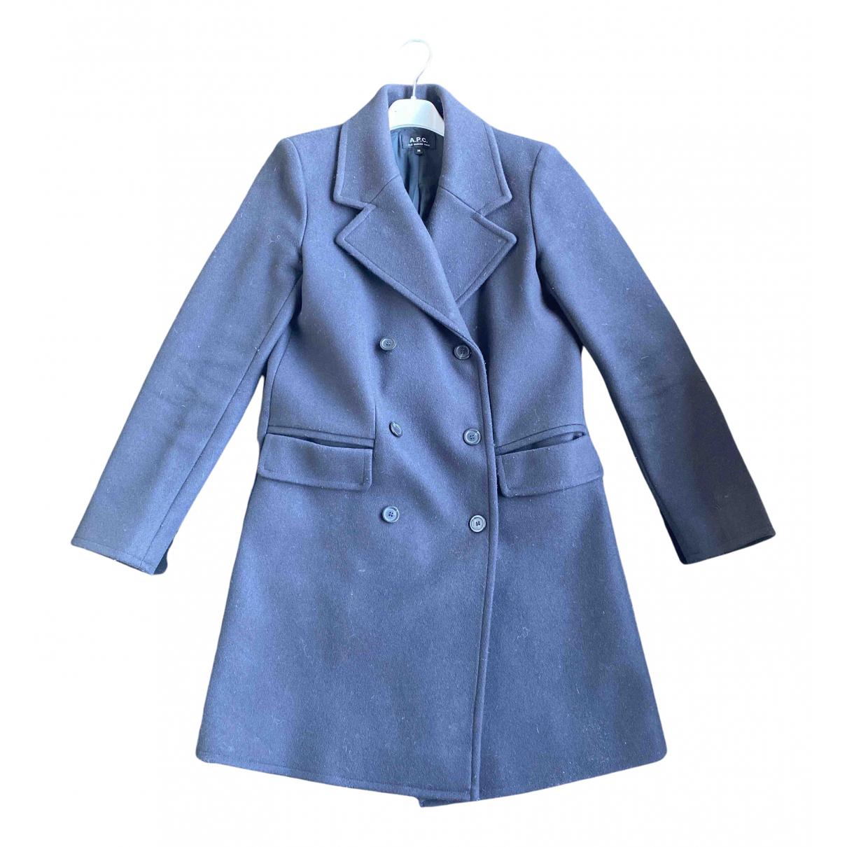 Apc - Manteau   pour femme en laine - bleu