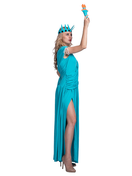 Milanoo Statue Of Liberty Halloween Costumes Ruched Slit Holidays Costumes