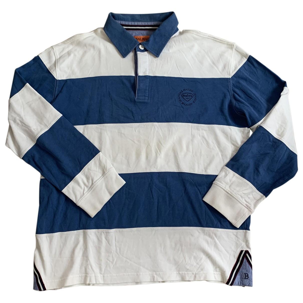 Balmain - Polos   pour homme en coton - bleu