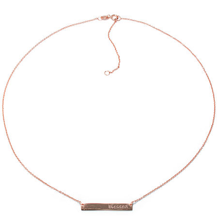 Silver Treasures 14K Rose Gold Over Silver Blessed 16 Inch Cable Pendant Necklace, One Size , No Color Family