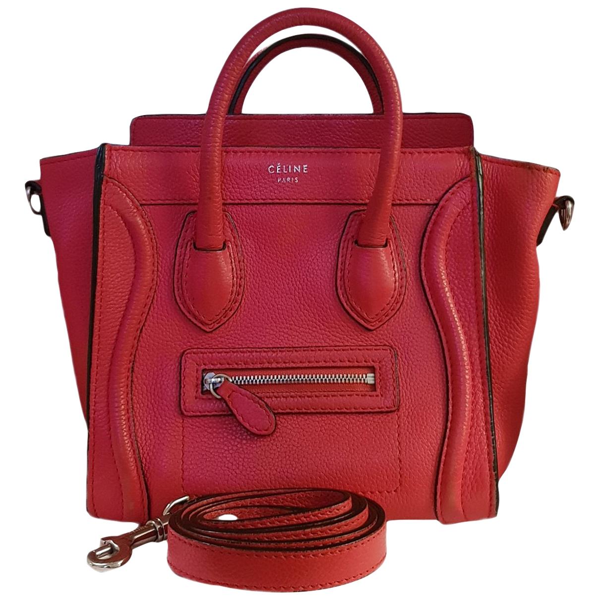 Celine Nano Luggage Red Leather handbag for Women \N