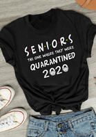 Seniors The One Where They Were Quarantined T-Shirt Tee - Black