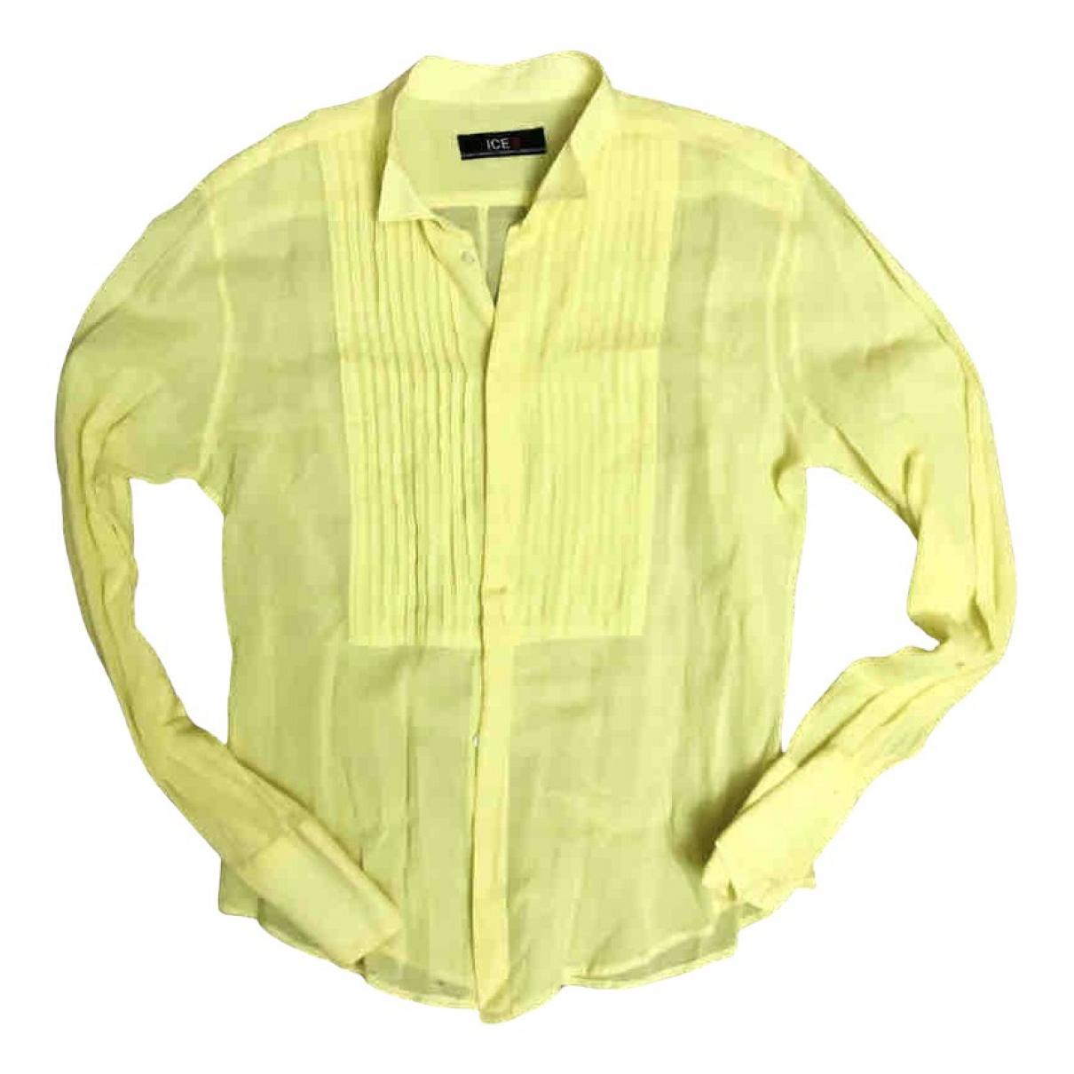 Iceberg N Yellow Cotton Shirts for Men M International