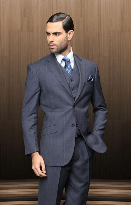 Mens 2 Button Vested Navy Windowpane Suit Comes With Shirt and Tie