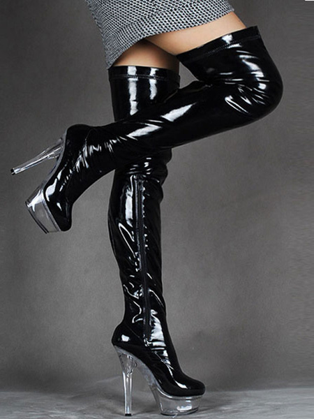 Milanoo Over The Knee Boots Black Sexy High Heel Round Toe Stiletto Light Patent Leather Thigh High Boots For Women