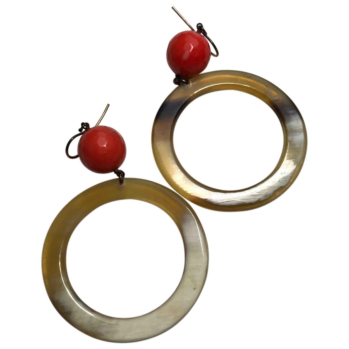 - Boucles doreilles   pour femme en corne - rouge