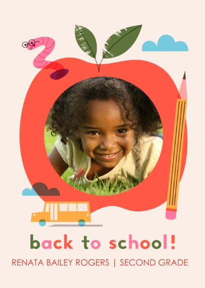 Back to School Mail-for-Me Premium 5x7 Folded Card , Card & Stationery -School Day Apple