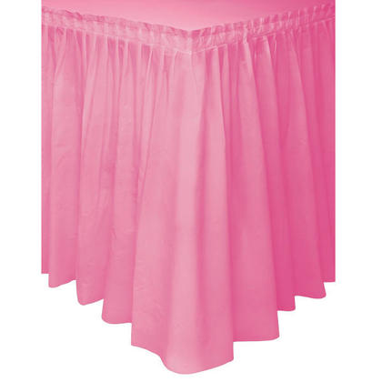 Party Plastic Table Skirt Solid Color Hot Pink 29