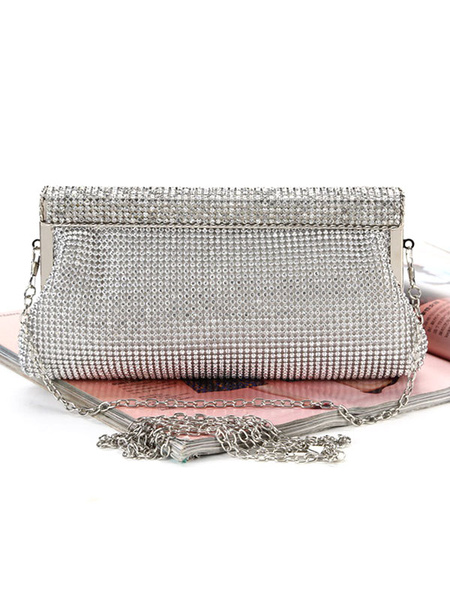 Milanoo Silver Clutch Bags Wedding Bridal Rhinestones Beaded Evening Party Handbags