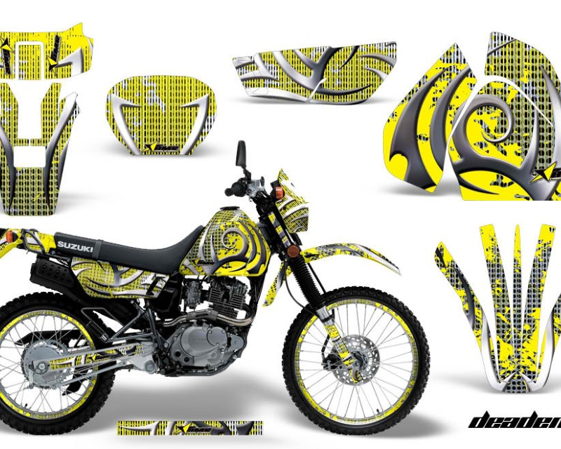AMR Racing Graphics MX-NP-SUZ-DRZ200SE-96-09-DN Y Kit Decal Sticker Wrap + # Plates For Suzuki DRZ200SE 1996-2009áDEADEN YELLOW