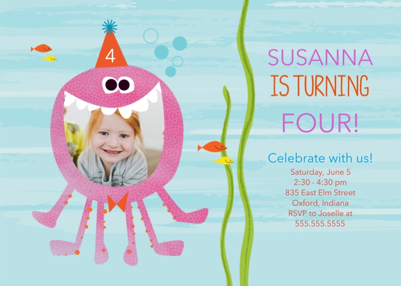 Kids Birthday Party Invites 5x7 Folded Cards, Standard Cardstock 85lb, Card & Stationery -Sea Creature Birthday Smile