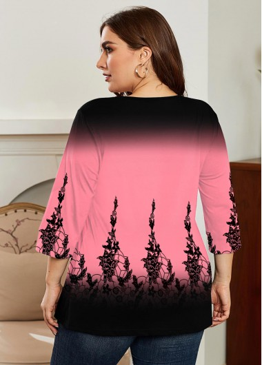 Printed Ombre V Neck Plus Size T Shirt - 2X