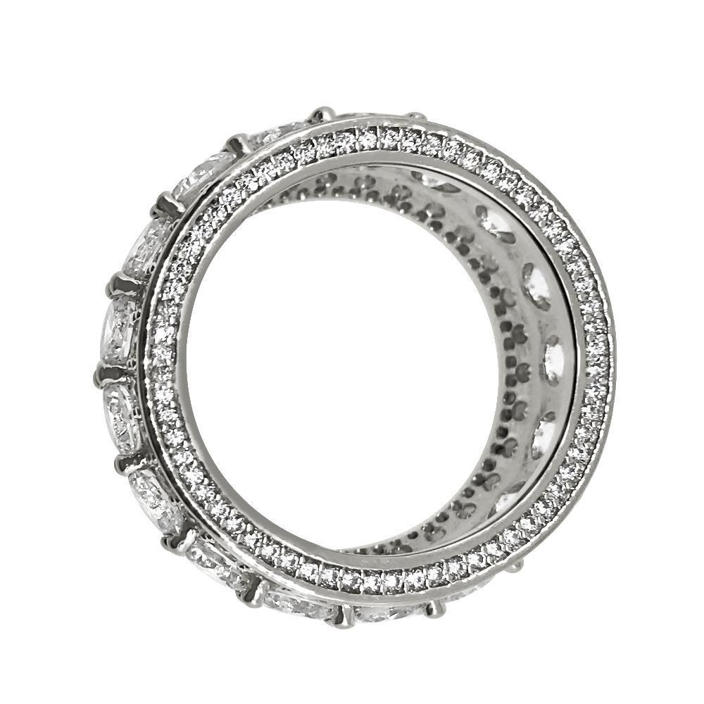 .925 Silver Bling Bling Royal 360 Eternity Band Rhodium CZ Ring
