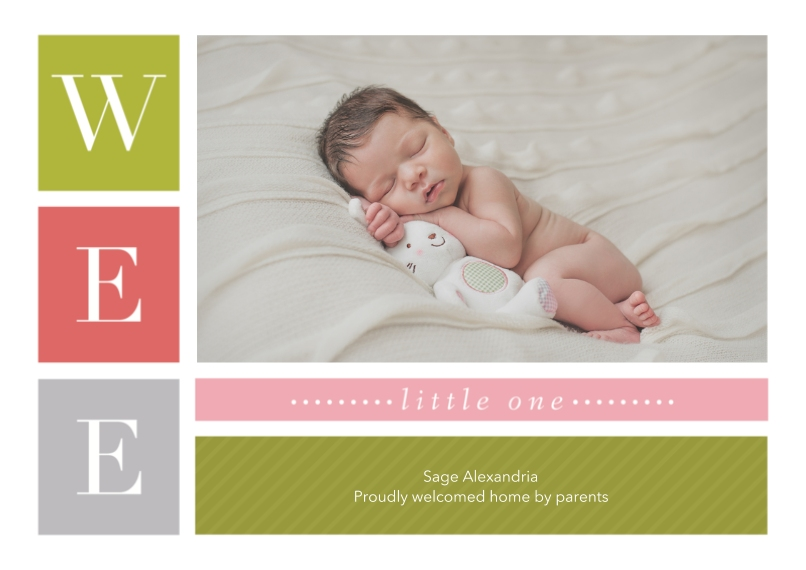 Newborn 5x7 Cards, Standard Cardstock 85lb, Card & Stationery -Small Surprise - Girl