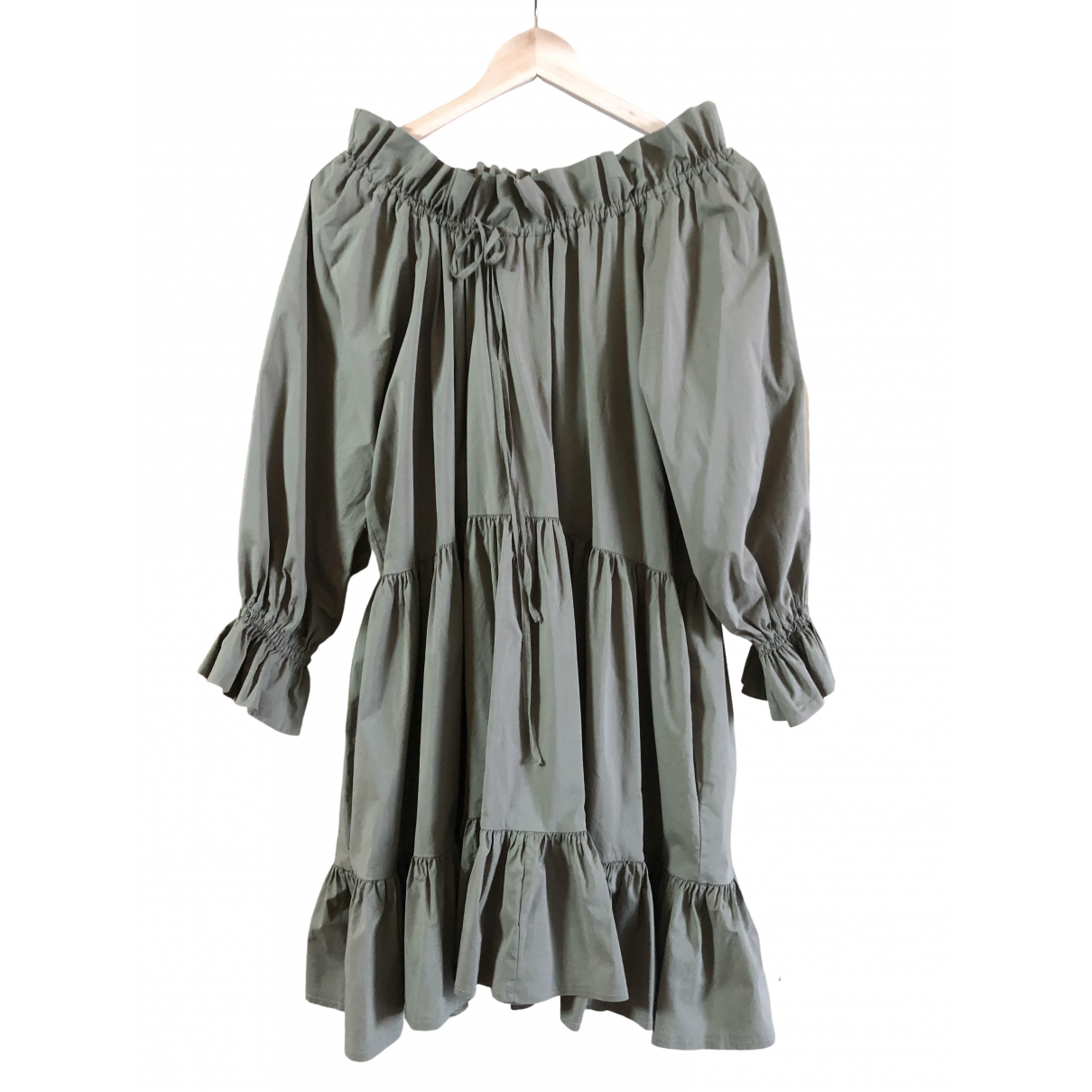 Non Signé / Unsigned Oversize Green Cotton dress for Women 40 IT