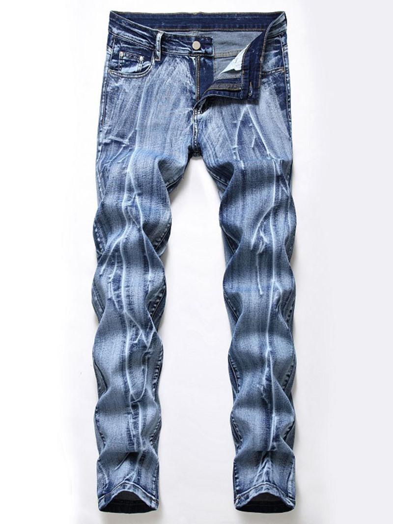 Ericdress Worn Straight Men's Zipper Mid Waist Slim Jeans