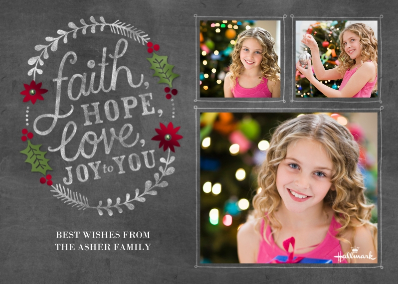 Religious Christmas Cards 5x7 Cards, Premium Cardstock 120lb, Card & Stationery -Faith Hope Love Chalkboard