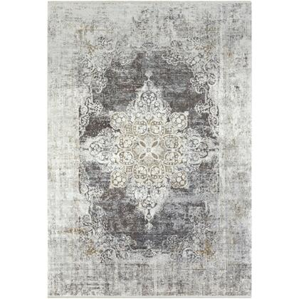 Solar SOR-2305 12' x 15' Rectangle Traditional Rugs in Charcoal  Taupe  Medium Gray  Bright Yellow  White  Light