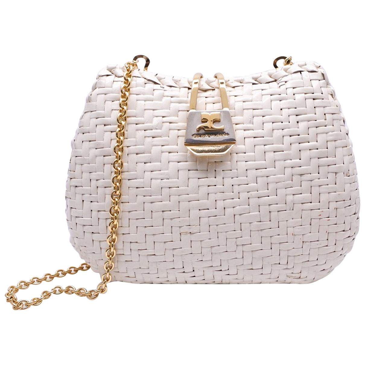 Courreges \N Handtasche in  Weiss Stroh