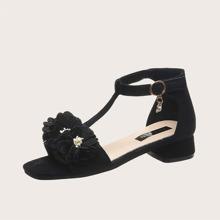 Girls Floral Appliques T Strap Sandals