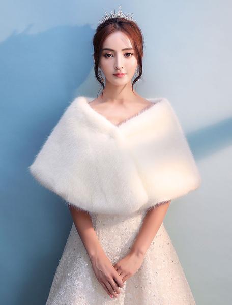 Milanoo Chal de novias de pelo de conejo de Angora de marfil Despedidas de soltera