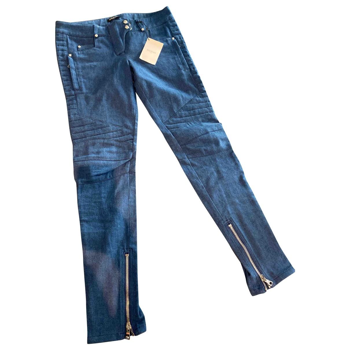 Balmain \N Blue Cotton - elasthane Jeans for Women 40 FR