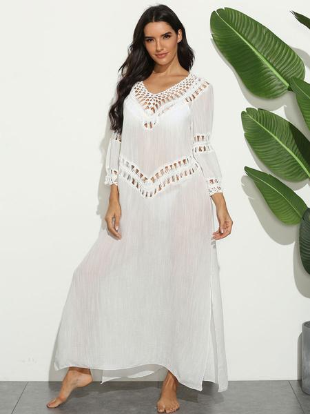 Milanoo White Maxi Dresses 3/4 Length SleevesV-Neck Split Front Oversized Long Dress