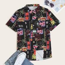 Camisa de manga corta de hombres con estampado de dibujo