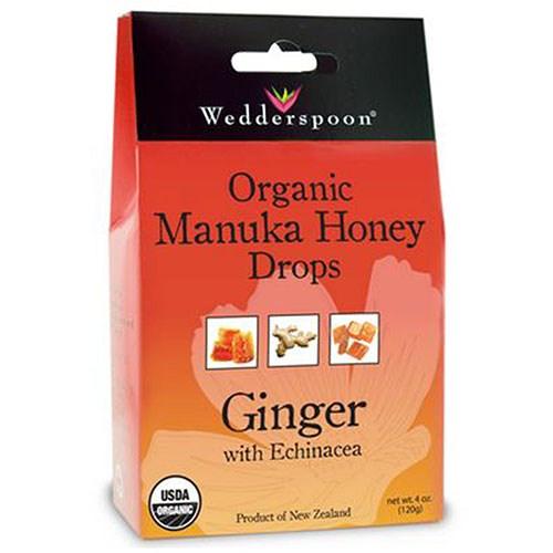 Organic Manuka Honey Drops Ginger 4 OZ by Wedderspoon Organic