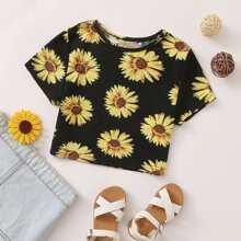 Maedchen Crop T-Shirt mit Sonnenblumen Muster