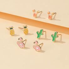 4pairs Girls Pineapple Shaped Stud Earrings
