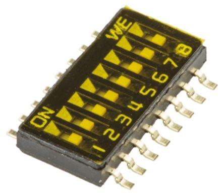 Wurth Elektronik 8 Way Surface Mount DIP Switch 8P, Flat Actuator
