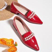 Loafers mit Kunstperlen Dekor