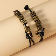 2 Stuecke Armband mit Buchstaben Design