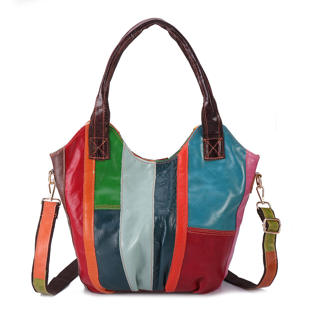 Women Oil Wax Genuine Leather Hobos Handbags Large Capacity Patchwork Bohemian Crossbody Bags