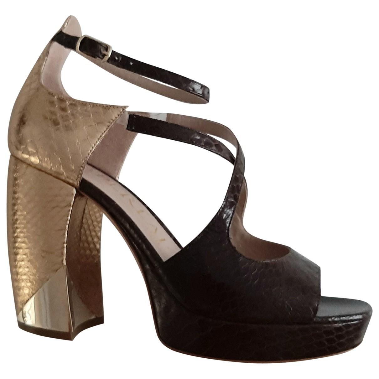 Aperlai \N Brown Leather Sandals for Women 37 EU