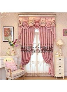 European Romantic Embroidered Flowers 2 Panels Decorative Sheer Window Drape