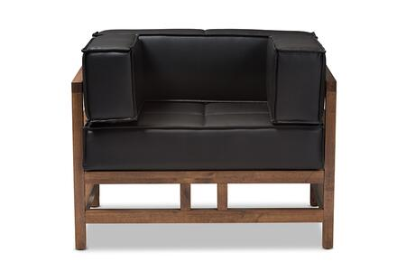 Shaw Collection BBT8033-1-CC-PINEBLACK Chair with Dark Walnut Rubberwood Frame  Dense Foam Filled Cushions  Mid-Century Style  Wooden Armrests and
