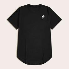 Camiseta irregular de hombres con estampado de dibujo