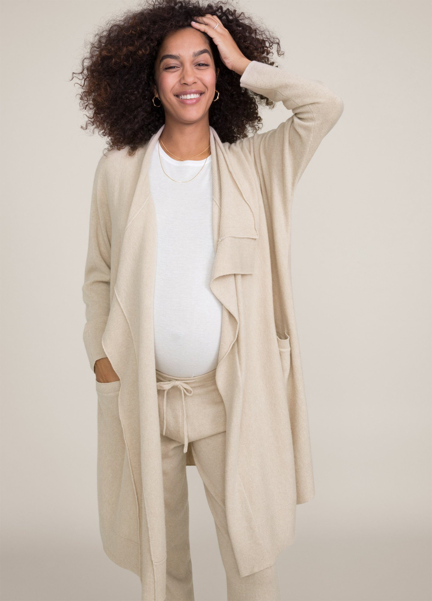 HATCH Maternity The Airplane Cardigan, wheat, Size O/S