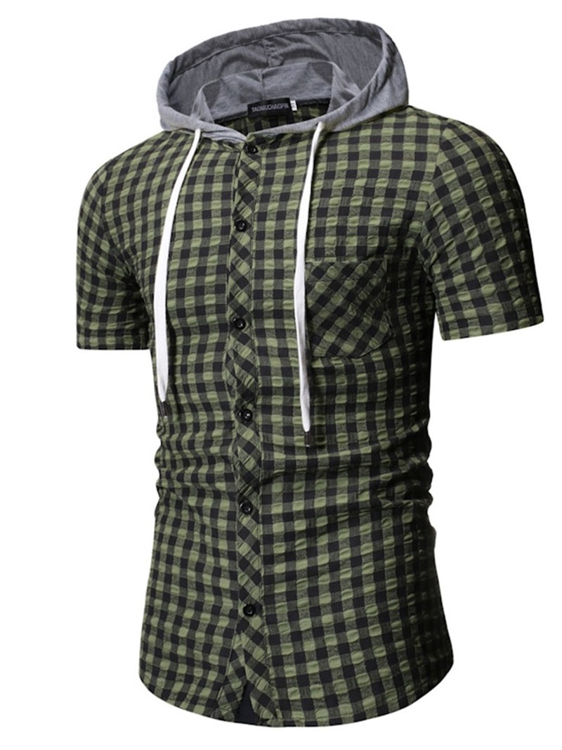 Ericdress Button Hooded Plaid Slim Mens Single-Breasted Shirt