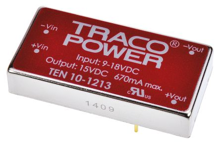 TRACOPOWER TEN 10 10W Isolated DC-DC Converter Through Hole, Voltage in 9 → 18 V dc, Voltage out 15V dc