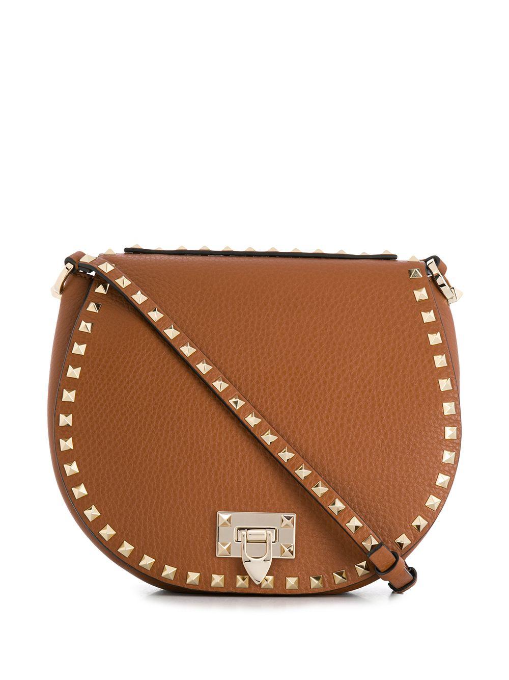 Rockstud Leather Saddle Bag
