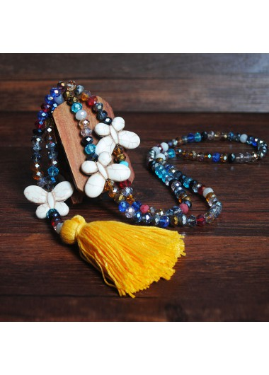 Mother's Day Gifts Yellow Tassel Butterfly Design Bead Necklace - One Size