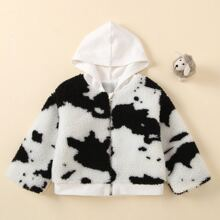 Toddler Girls Graphic Zipper Up Hooded Teddy Jacket