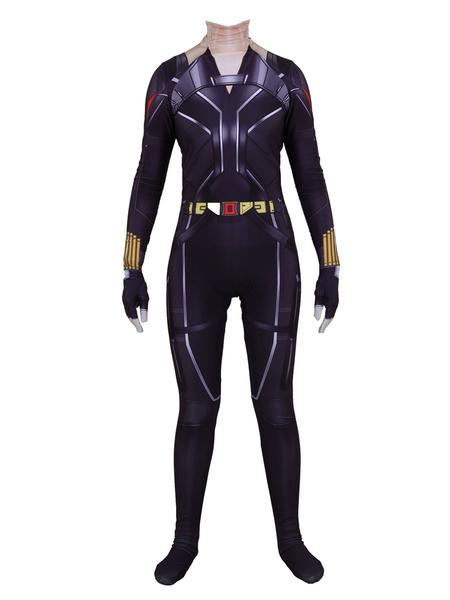 Milanoo Marvel Comics Marvel Avengers Black Widow Jumpsuit Halloween Cospaly Costume