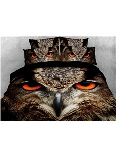 Owl's Sharp Eyes Printed 4-Piece 3D Bedding Sets/Duvet Covers