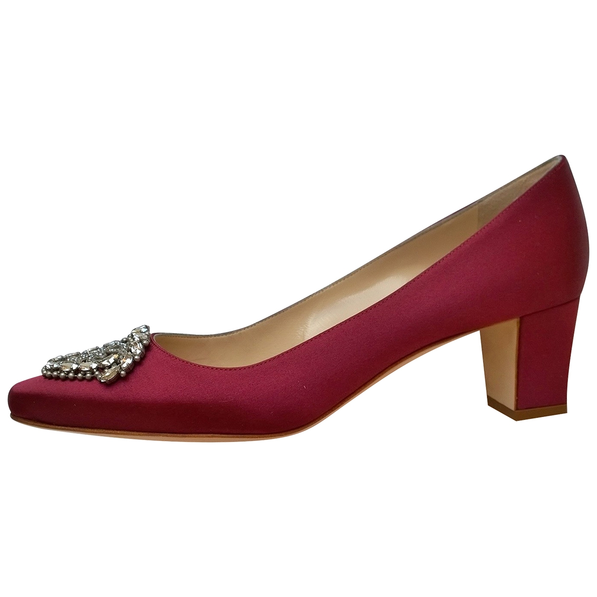 Manolo Blahnik \N Burgundy Cloth Heels for Women 39.5 IT